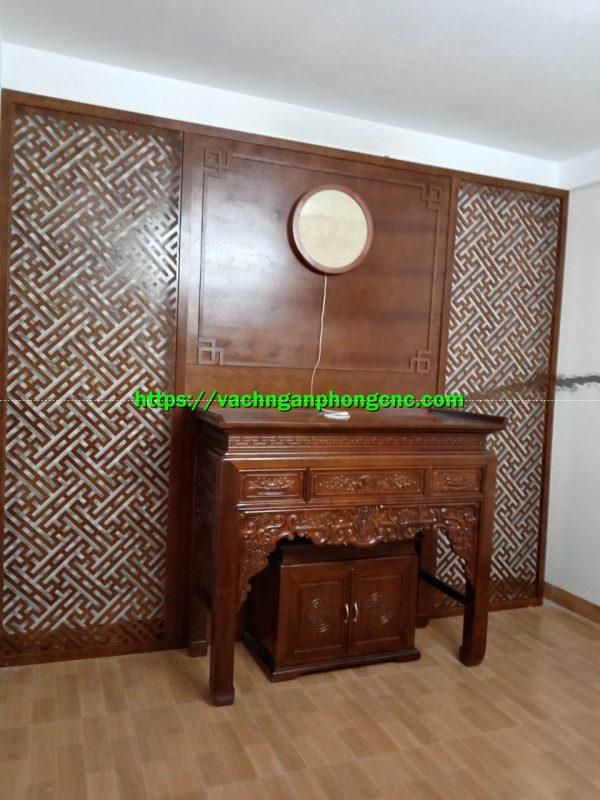 vách gỗ phòng thờ